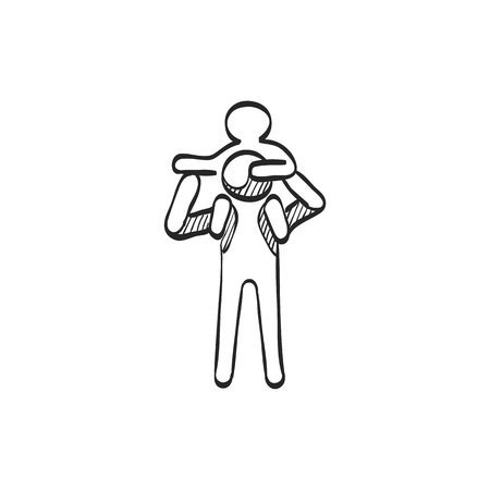 Man holding kid icon in doodle sketch lines. Family gather holiday travel Illustration