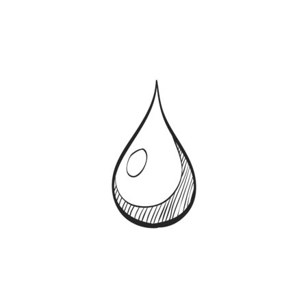 shiny: Water drop icon in doodle sketch lines. Nature ecology environment