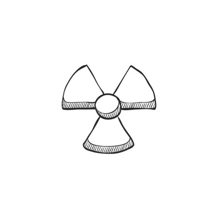Radioactive symbol icon in doodle sketch lines. Science research energy nuclear waste
