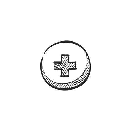 medical drawing: Plus sign icon in doodle sketch lines. Symbol add bookmark medical health care ambulance Illustration