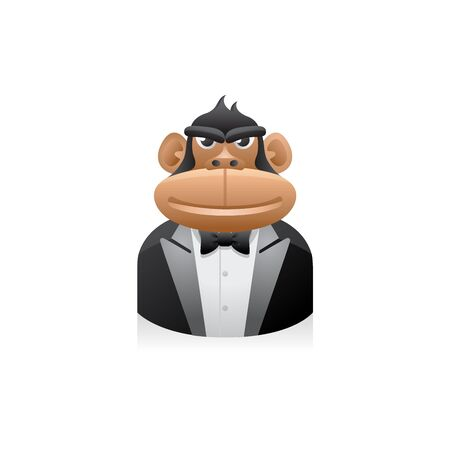 Monkey Businessman avatar icon in colors. Illustration