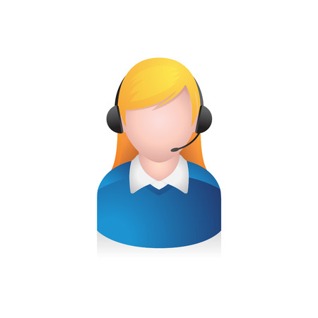 Customer service avatar icon in colors.