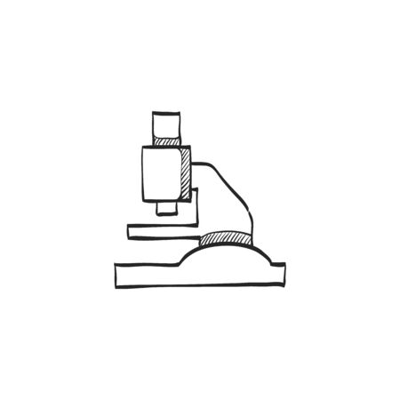 biology lab: Microscope icon in doodle sketch lines. Science equipment laboratory chemist biology bacteria virus magnification
