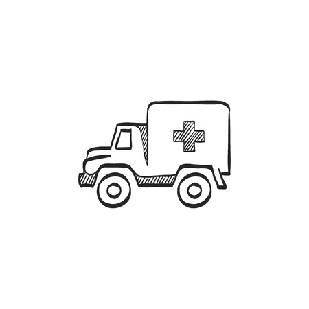 safety: Military ambulance icon in doodle sketch lines. Vintage truck vehicle world war