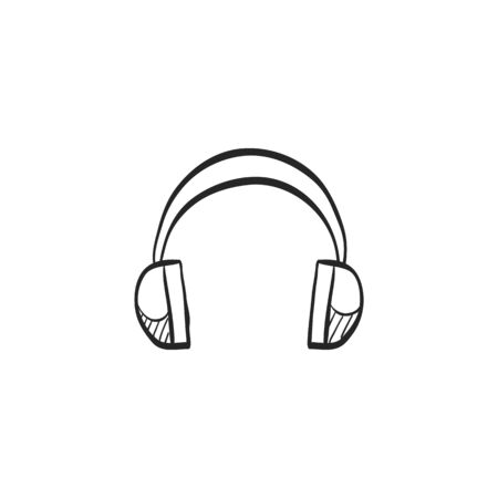 music: Headset Audio icon in doodle sketch lines.