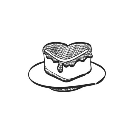 romantic: Wedding cake icon in doodle sketch lines. Romantic married party dessert
