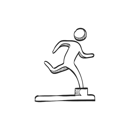 competitions: Athletic trophy icon in doodle sketch lines. Running triathlon decathlon competition sport