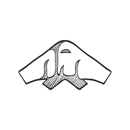 stealthy: Stealth bomber  icon in doodle sketch lines. Aircraft military attack avionics anti radar Illustration