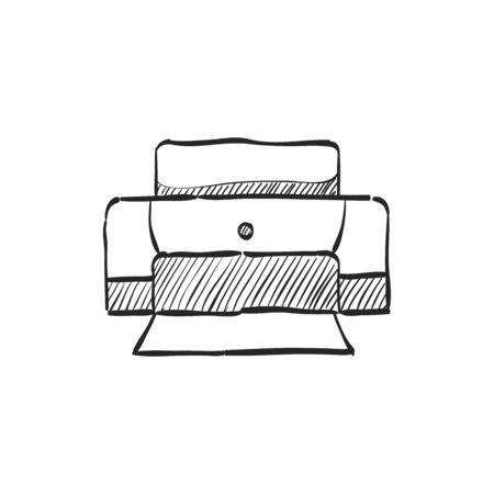 electronic: Printer icon in doodle sketch lines.