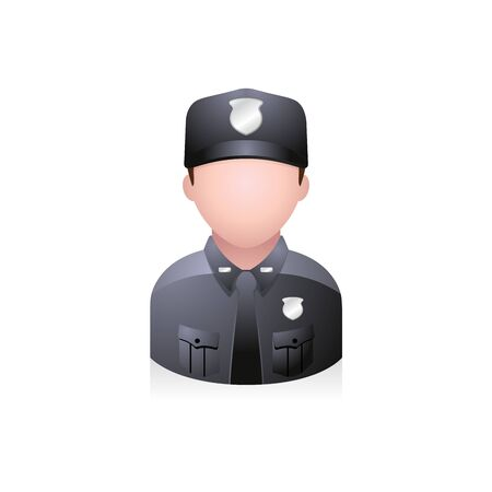 internet user: Police officer avatar icon in colors. Illustration