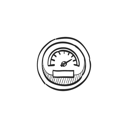 engine: Dashboard icon in doodle sketch lines. Control panel, odometer, speedometer