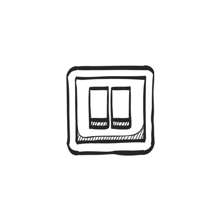 shutdown: Electric switch icon in doodle sketch lines. Illustration