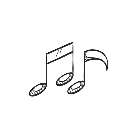 crotchets: Music notes icon in doodle sketch lines. Musical sheets sign crotchets quaver Illustration