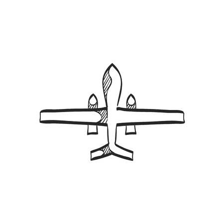 air: Unmanned aerial vehicle icon in doodle sketch lines. Aviation technology military drone modern warfare Illustration