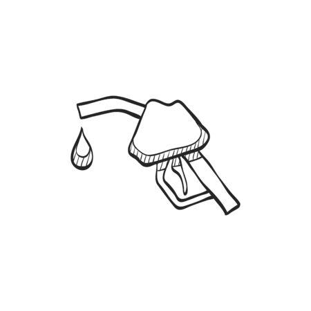 danger: Gas dispenser icon in doodle sketch lines. Oil gasoline fuel petroleum pollution