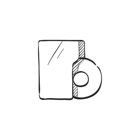 website: Music album icon in doodle sketch lines. Music release discography musician artist Illustration