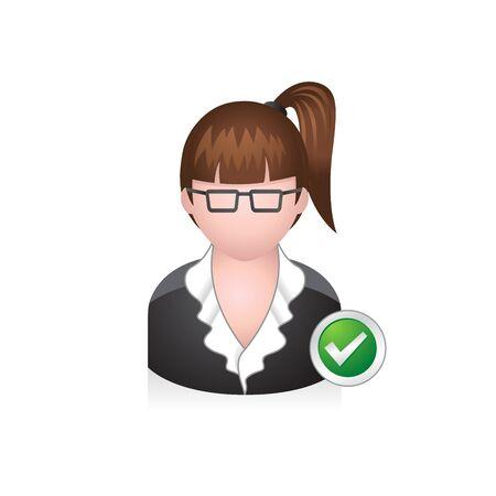 pelo castaño claro: Icono de avatar de mujer de negocios en colores.