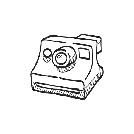 chrome: Instant camera icon in doodle sketch lines. Vintage retro photography photo mechanical analog film shooting instant paper