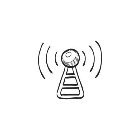 mobile website: Podcast icon in doodle sketch lines. Broadcast Illustration