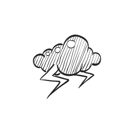 Weather overcast storm icon in doodle sketch lines. Nature forecast thunder