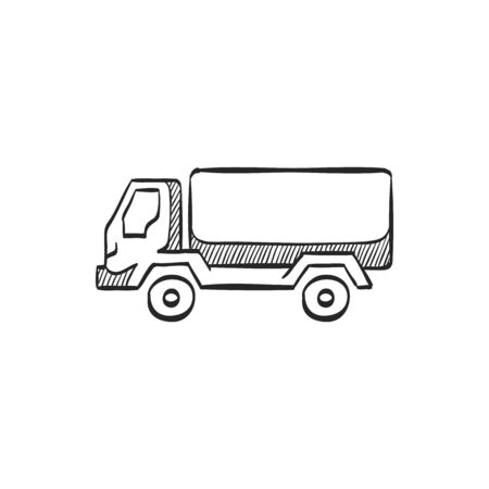 truck: Military truck icon in doodle sketch lines. War transportation.