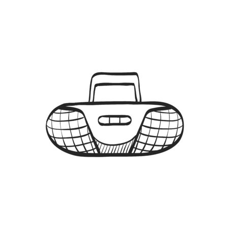 music: Cassette player icon in doodle sketch lines. Music dance party audio stereo mini compo