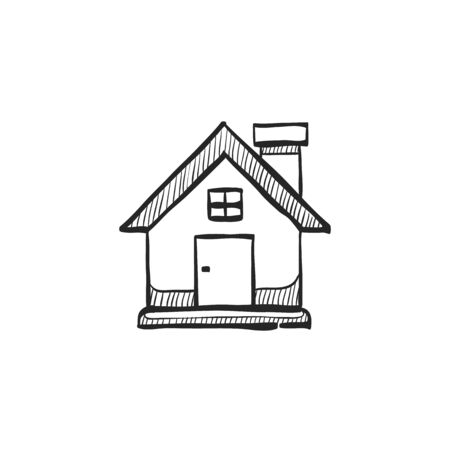 home icon: Bird nest icon in doodle sketch lines. Animal home