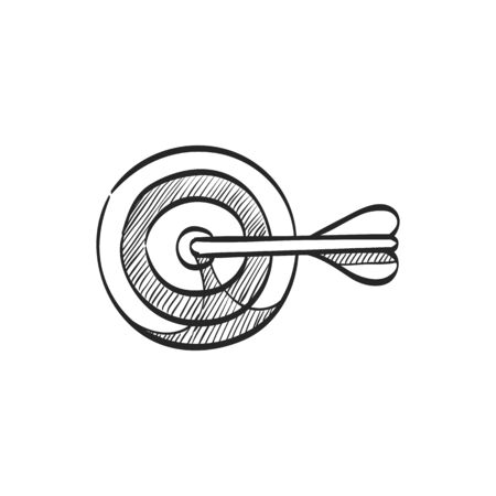 website: Arrow bullseye icon in doodle sketch lines. Business sport target strategy