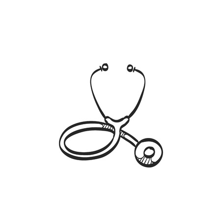 medical practitioner: Stethoscope icon in doodle sketch lines. Medical equipment, doctor, practitioner