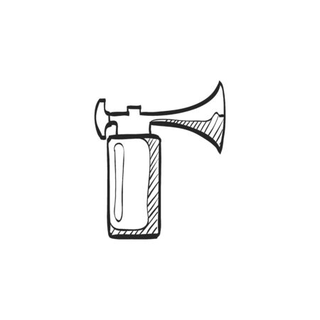 audible: Gas horn in doodle sketch lines. Alarm loud pneumatic high pressure Illustration