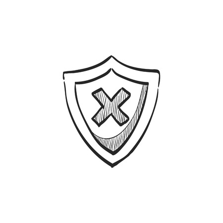 protect: Shield icon in doodle sketch lines. Protection, computer virus, antivirus