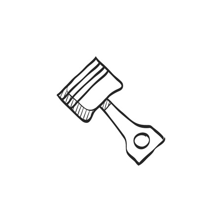 car: Piston icon in doodle sketch lines. Automotive parts motor auto car technology mechanic
