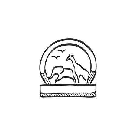 tropical: Zoo gate icon in doodle sketch lines. Animal park jungle safari Illustration