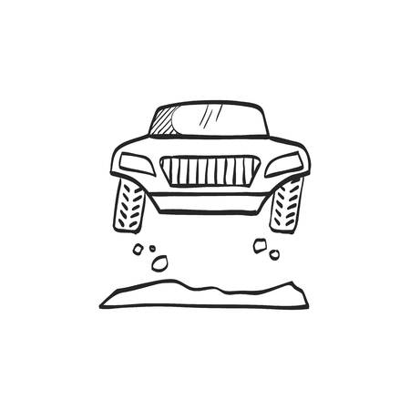 fast car: Rally car icon in doodle sketch lines. Race championship competition fast track road
