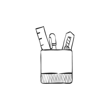 line drawings: Pen pot icon in doodle sketch lines. Office supply writing drawing desktop storage Illustration