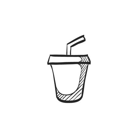 junk: Fast food icon in doodle sketch lines. Junk food soft drink cola high sugar Illustration