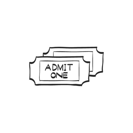 movie theater: Ticket icon in doodle sketch lines. Cinema, concert, shows