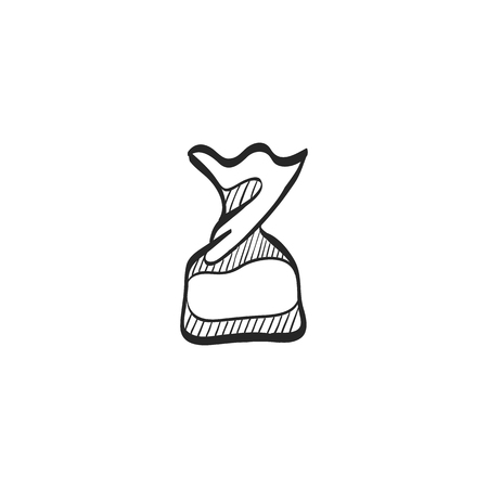 stuff: Twist candy icon in doodle sketch lines. Food snack sweet sugar junk twisted wrapping