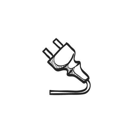 Electric plug icon in doodle sketch lines. Electricity connection household appliance cord
