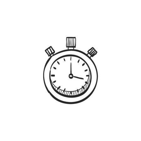 Icono del cronómetro en líneas del bosquejo del doodle. Velocidad, tiempo, fecha límite, deporte, inicio, parada