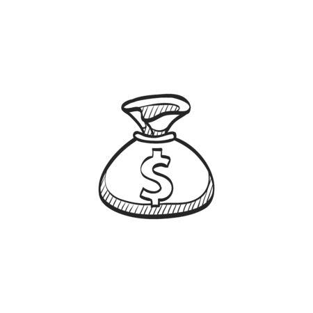 cash money: Money sack icon in doodle sketch lines. Finance wealth banking