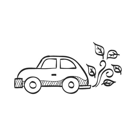 leaf: Green car icon in doodle sketch lines. Low emission, electric vehicle