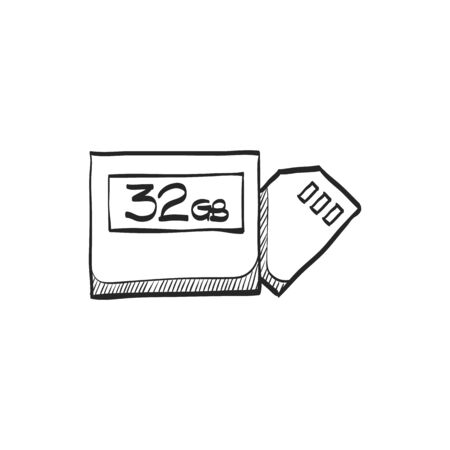 electronic music: Compact flash and SD card icon in doodle sketch lines. Computer photography store image file data digital