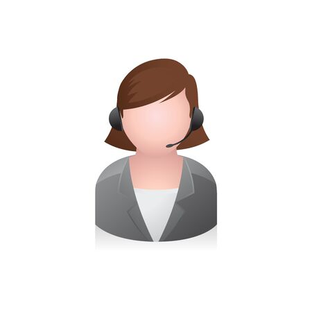telephone: Business woman avatar icon in colors.