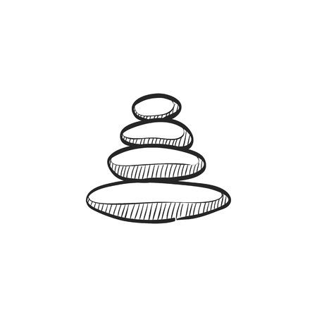 Stacked stone icon in doodle sketch lines. Spa, meditation, wellness, relaxation