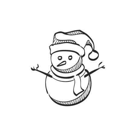 line drawings: Snowman icon in doodle sketch lines. Snow winter December season Christmas