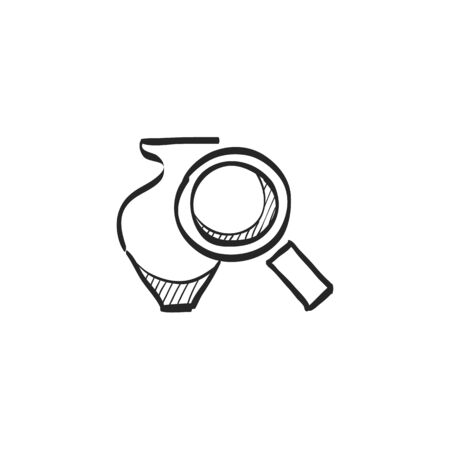 artwork: Vase and magnifier icon in doodle sketch lines. Business concept auction bidding masterpiece artwork validate Illustration