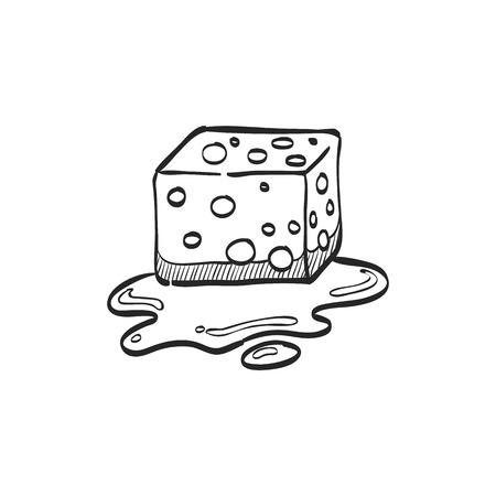 bathroom design: Sponge cleaning icon in doodle sketch lines. Housekeeping service wet bathroom