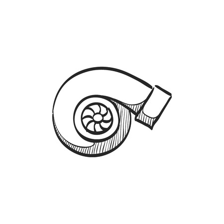 engine: Turbo charger icon in doodle sketch lines. Automobile car sport speed boost engine machine