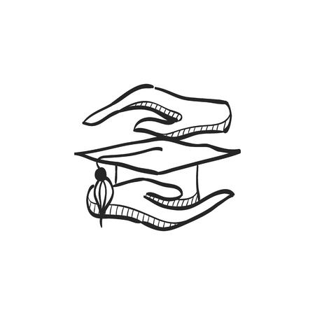 Hand, die Diplomikone in Gekritzelskizzenlinien hält. Ausbildung Schulschutz Sicherheit Diplom Diploma Versicherung